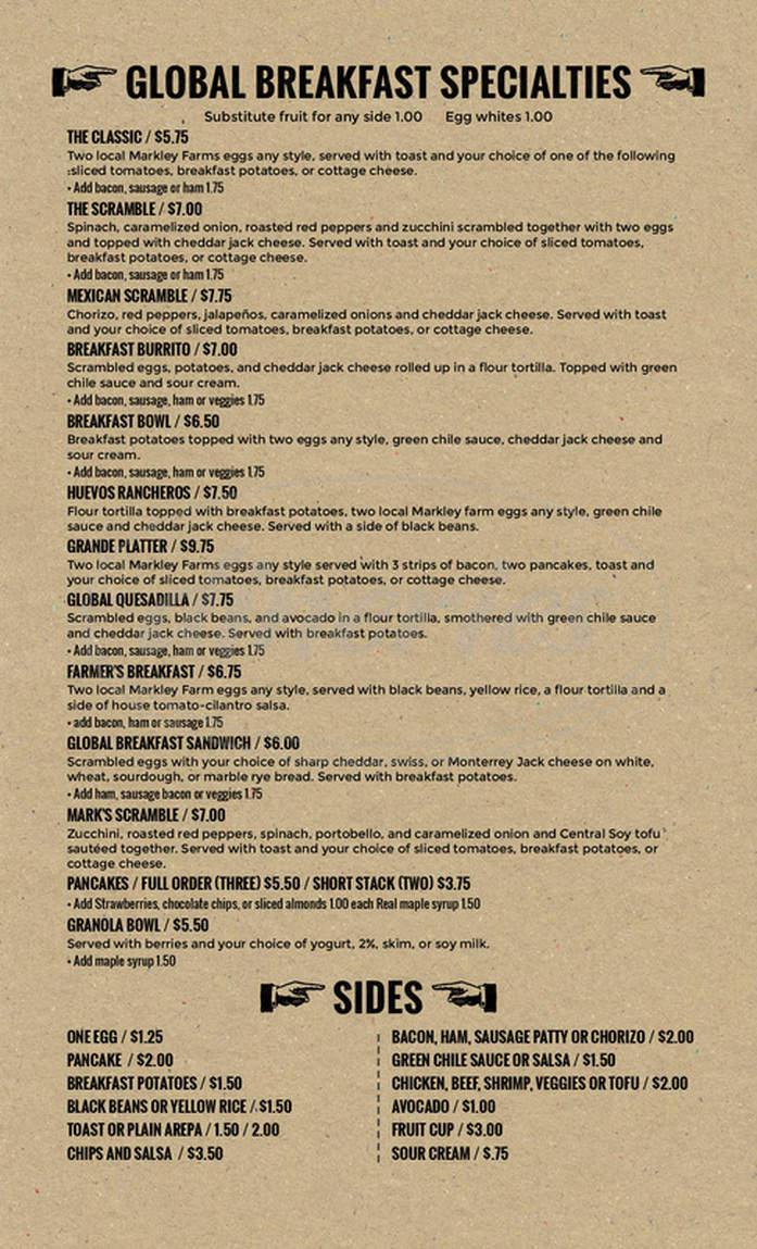 menu for Global Cafe