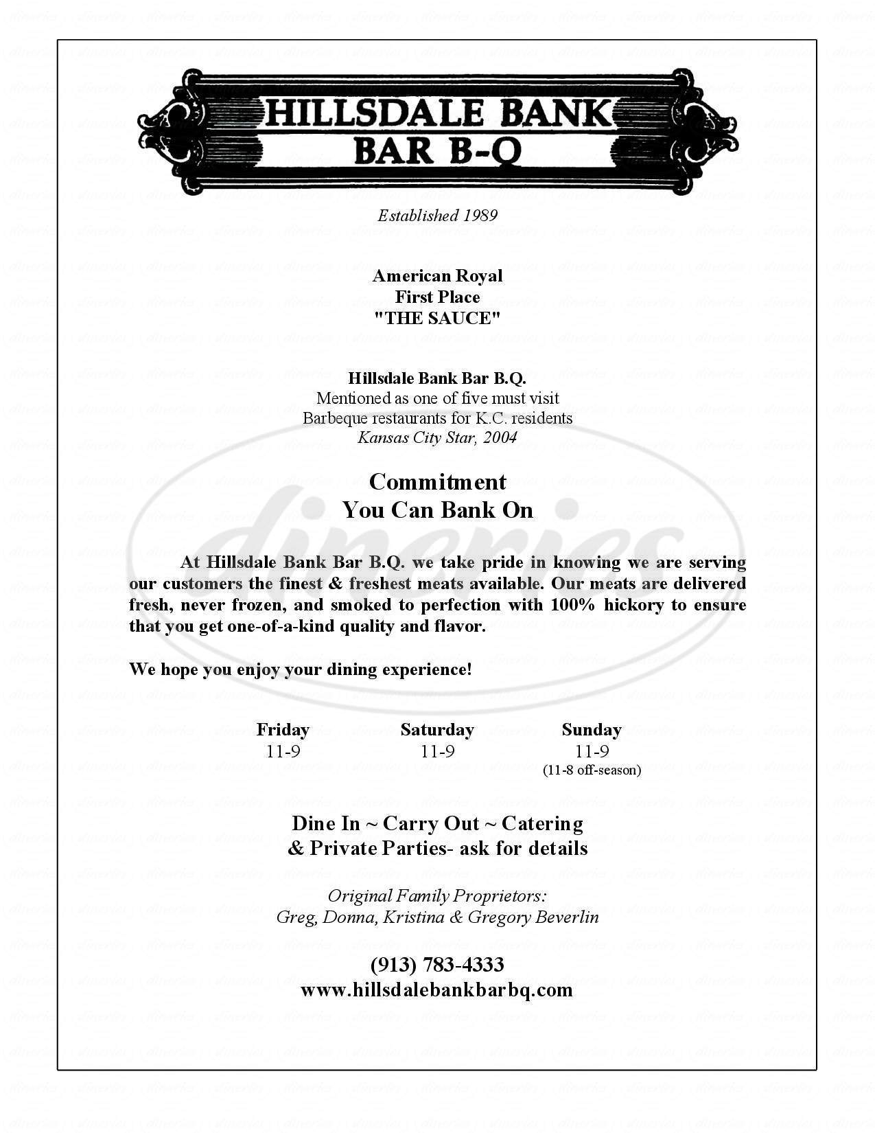 menu for Hillsdale Bank B-B-Q