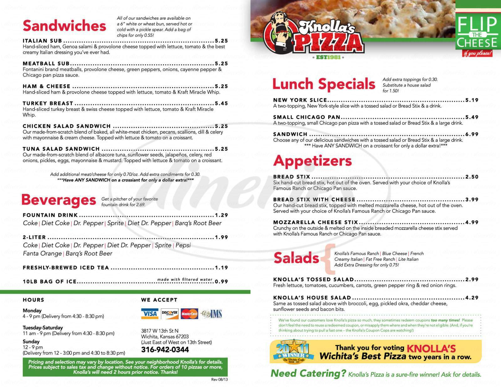 menu for Knolla's Pizza