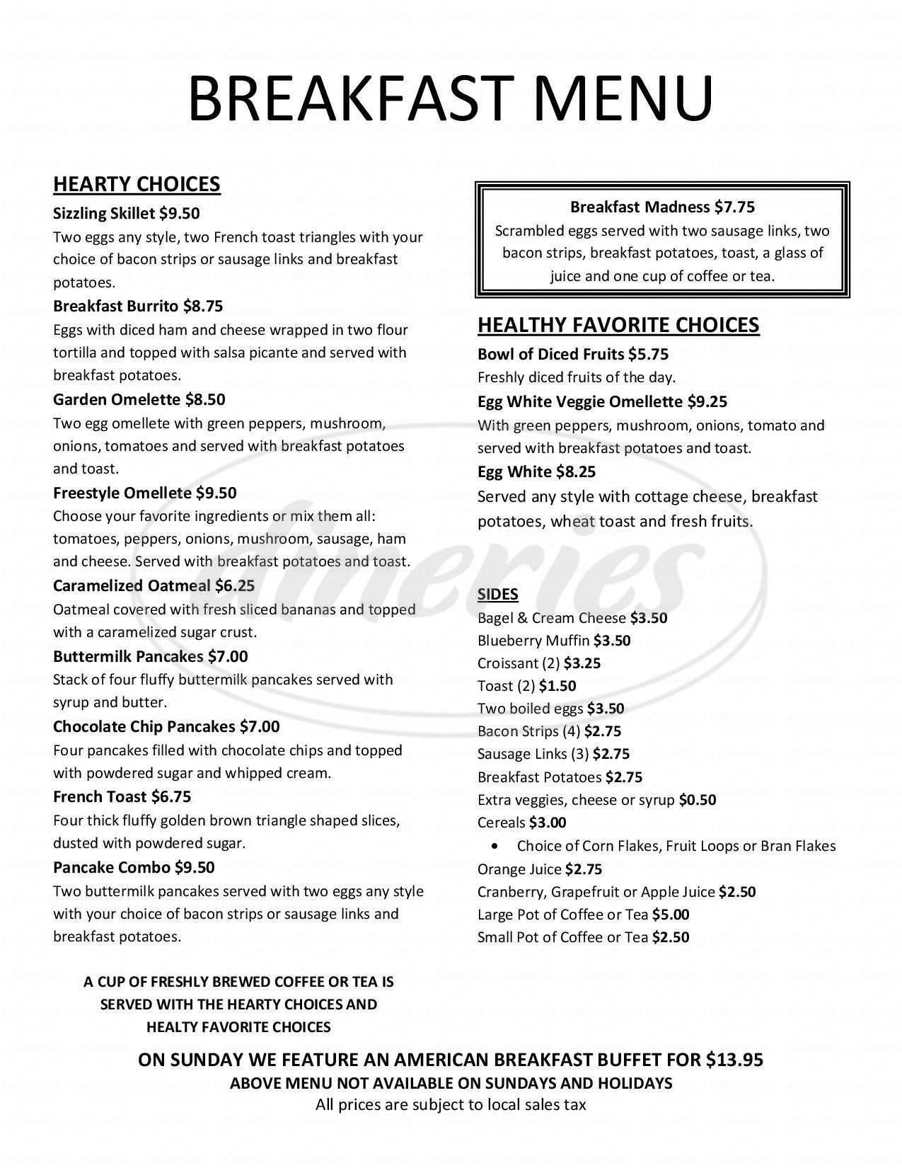 menu for La Cabana