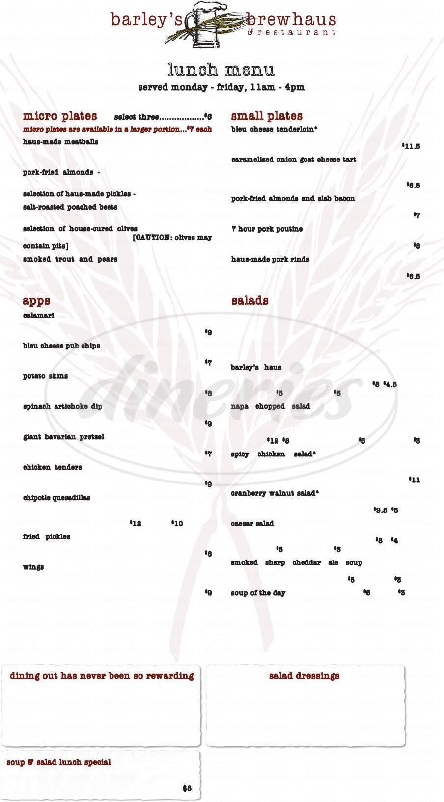 menu for Barley's Brewhaus