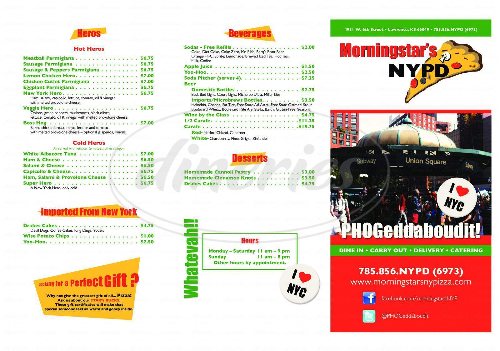 menu for Morningstar's NYPD