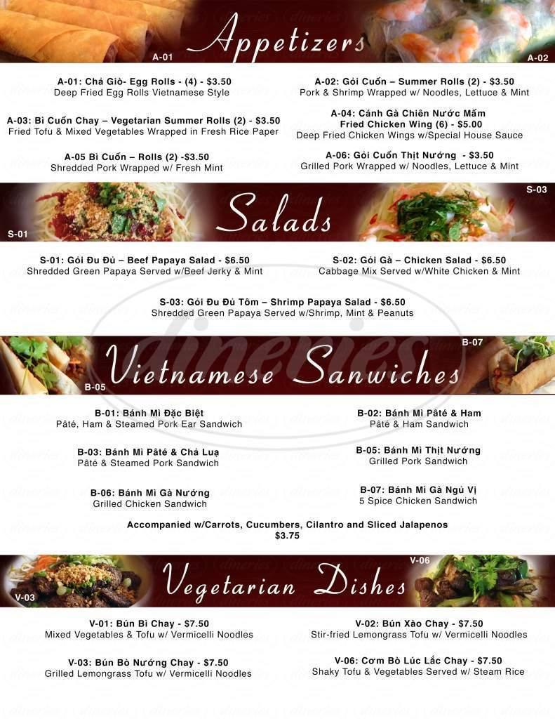 menu for Pho Special