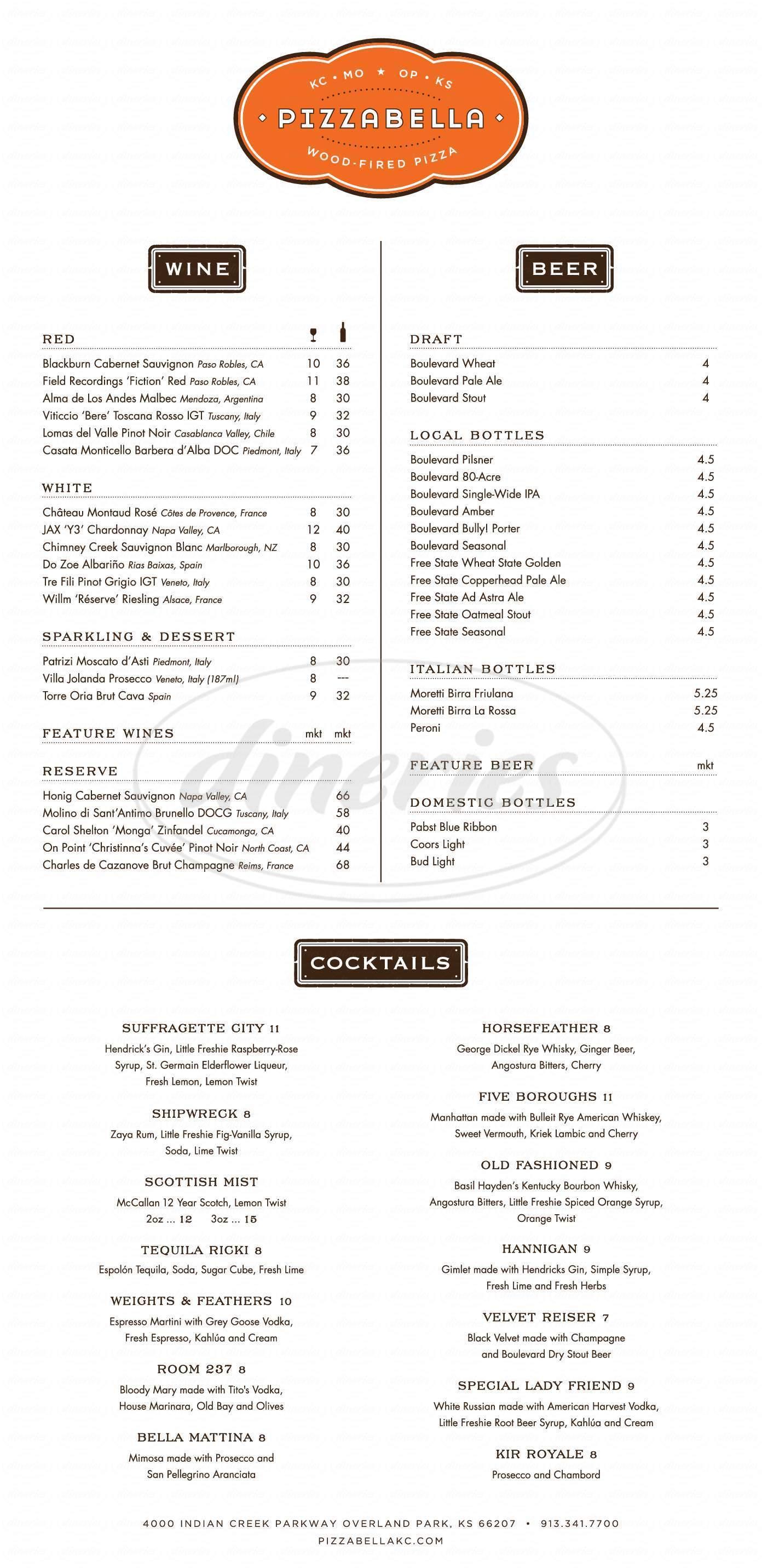 menu for Pizzabella