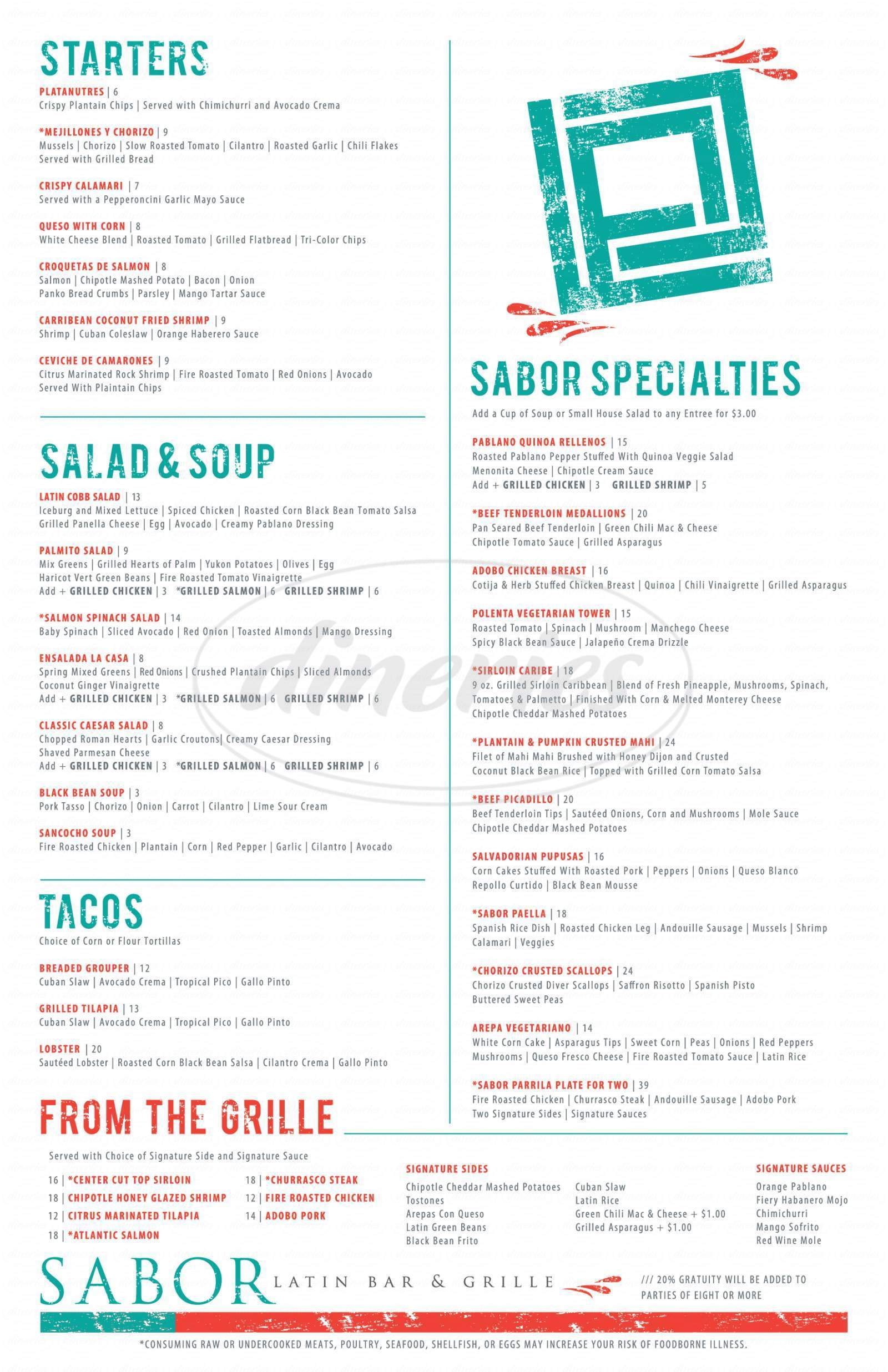 menu for Sabor Latin Bar & Grill