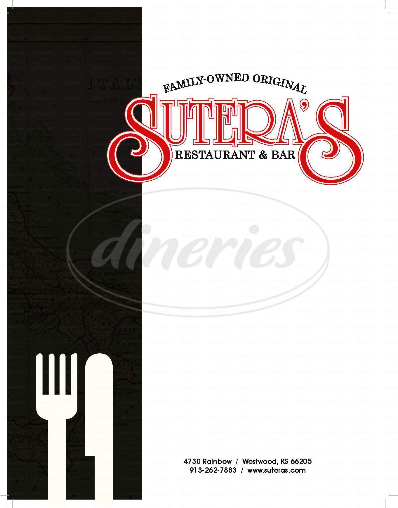 menu for Sutera's Restaurant Westwood