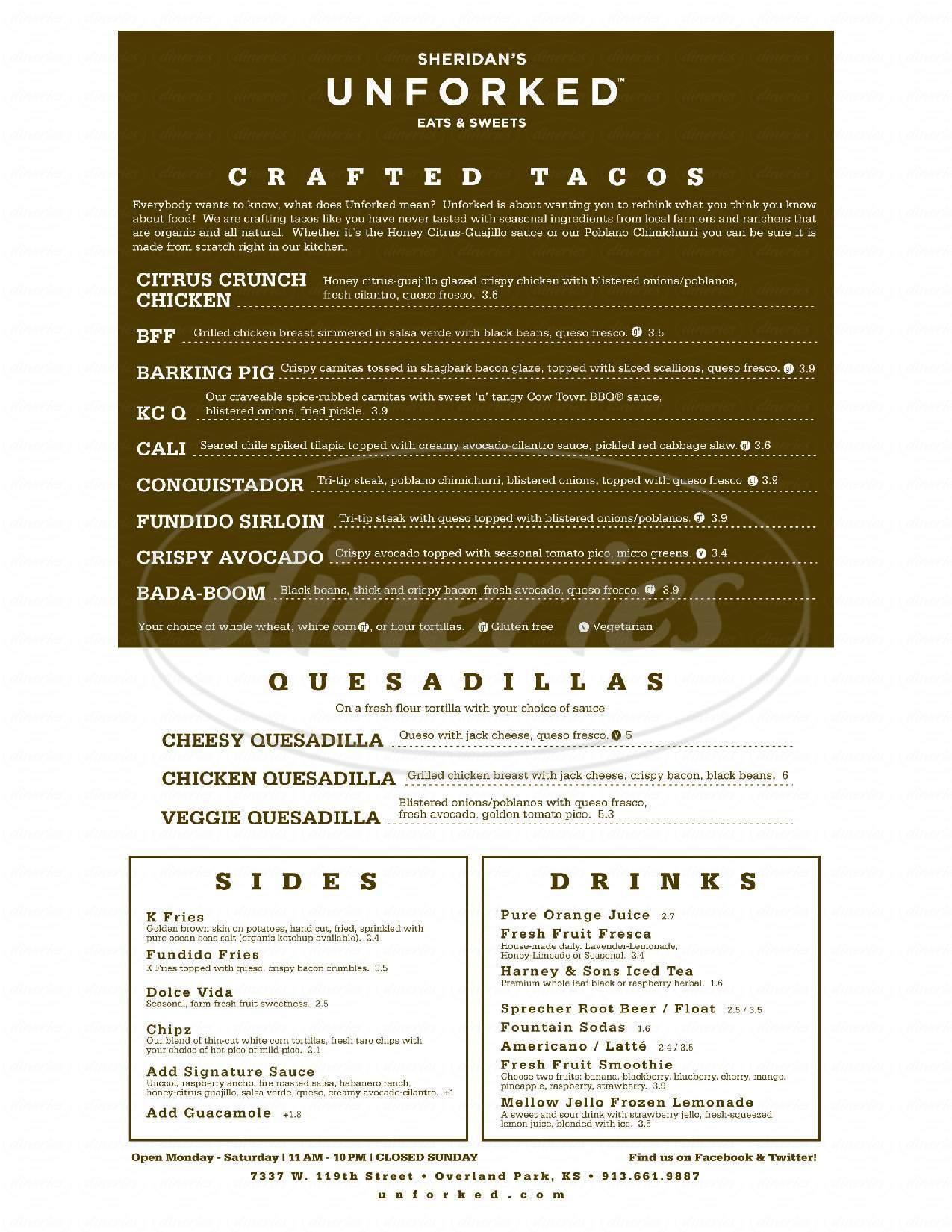menu for Sheridan's Unforked