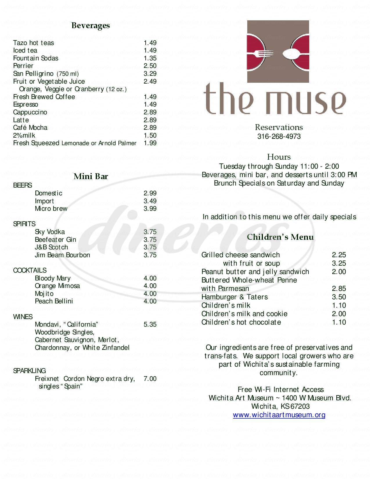 menu for The Muse