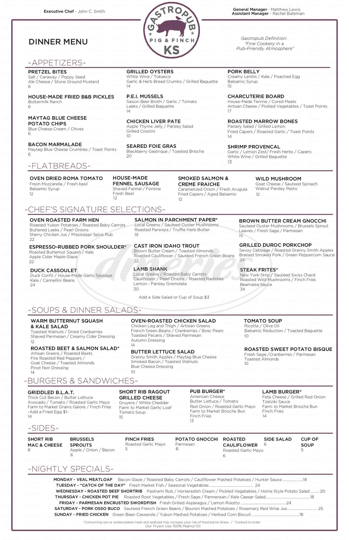 menu for 801 Chophouse Leawood