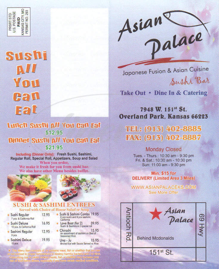 menu for Asian Palace