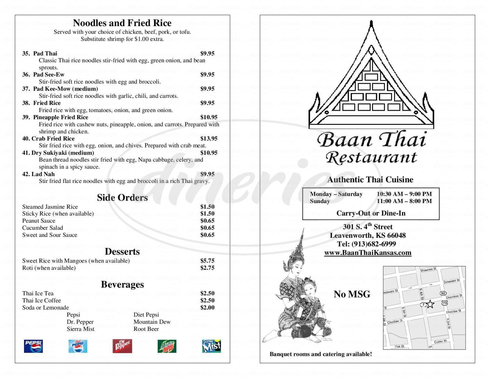menu for Baan Thai Restaurant