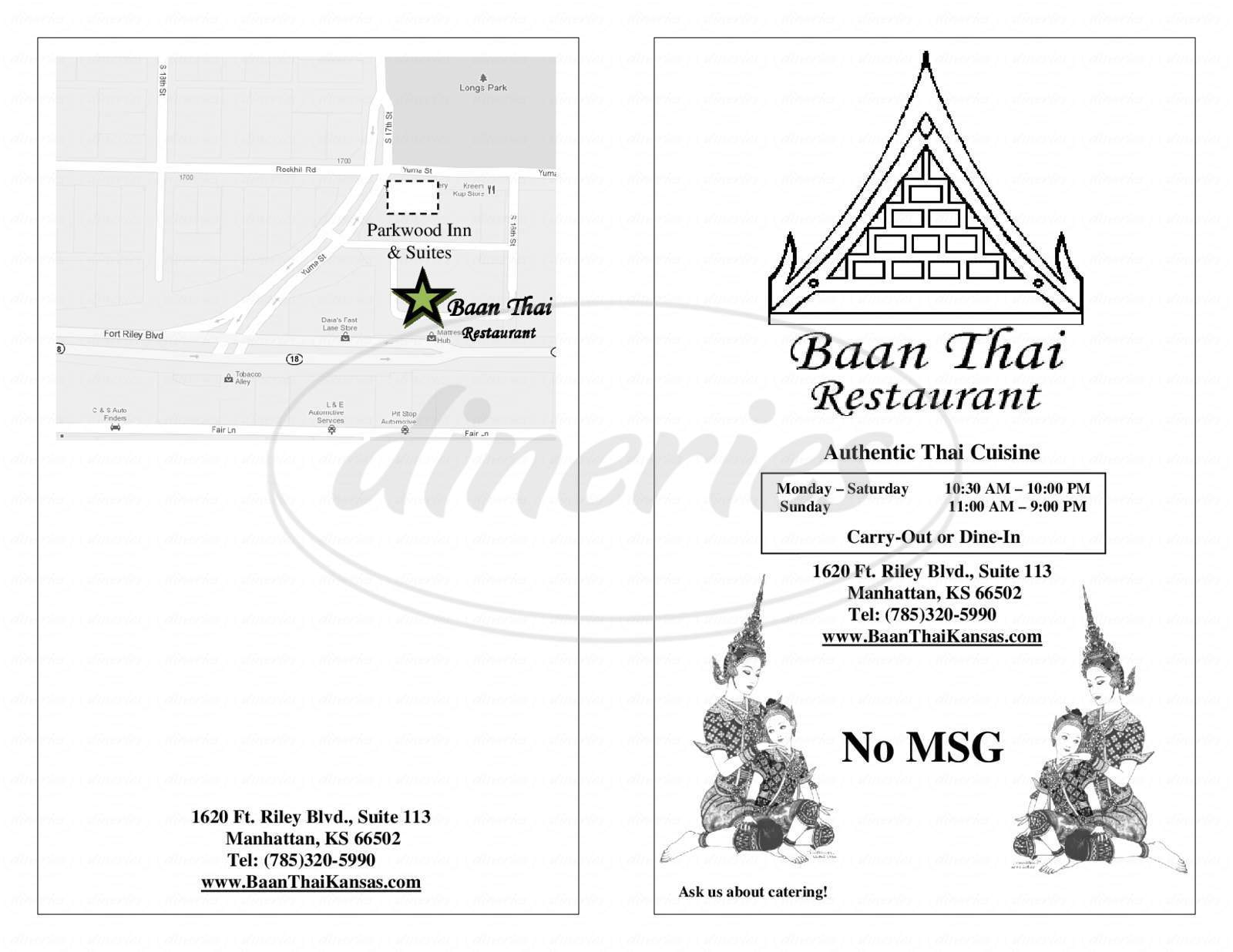 menu for Baan Thai Restraunt