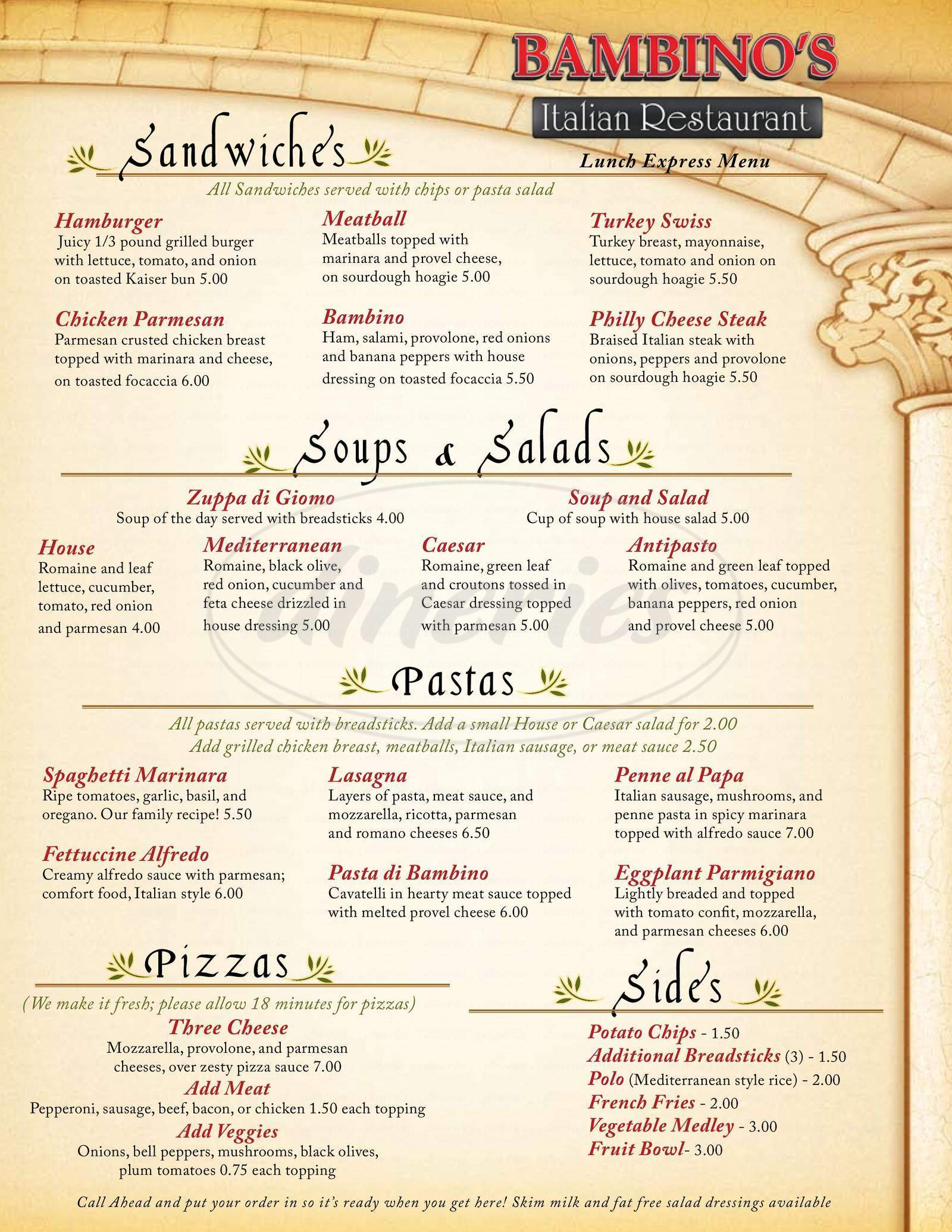 menu for Bambino's Italian Cafe
