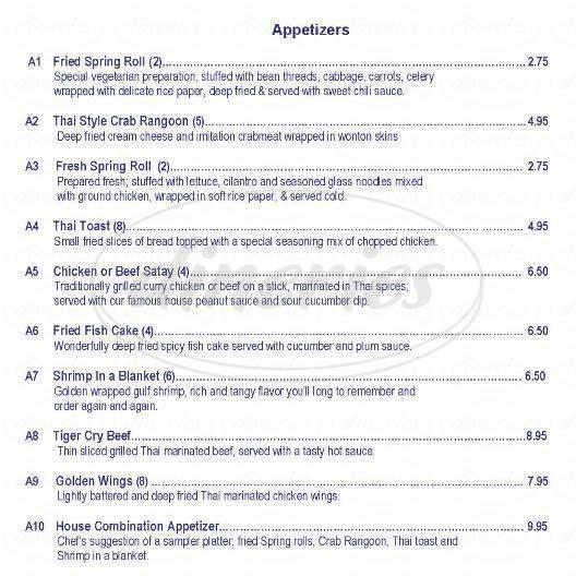 menu for Bangkok Pavillion