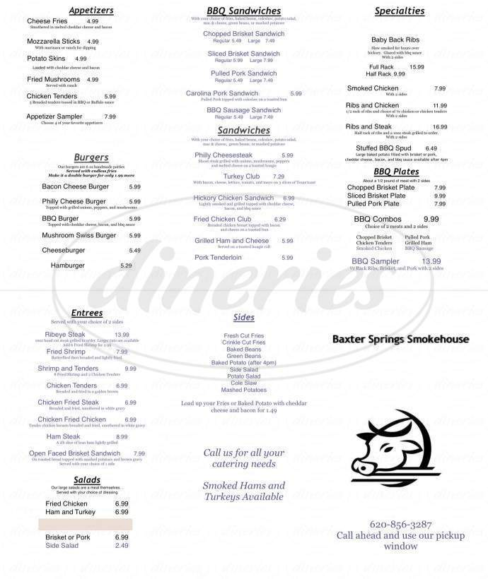 menu for Baxter Springs Smokehouse