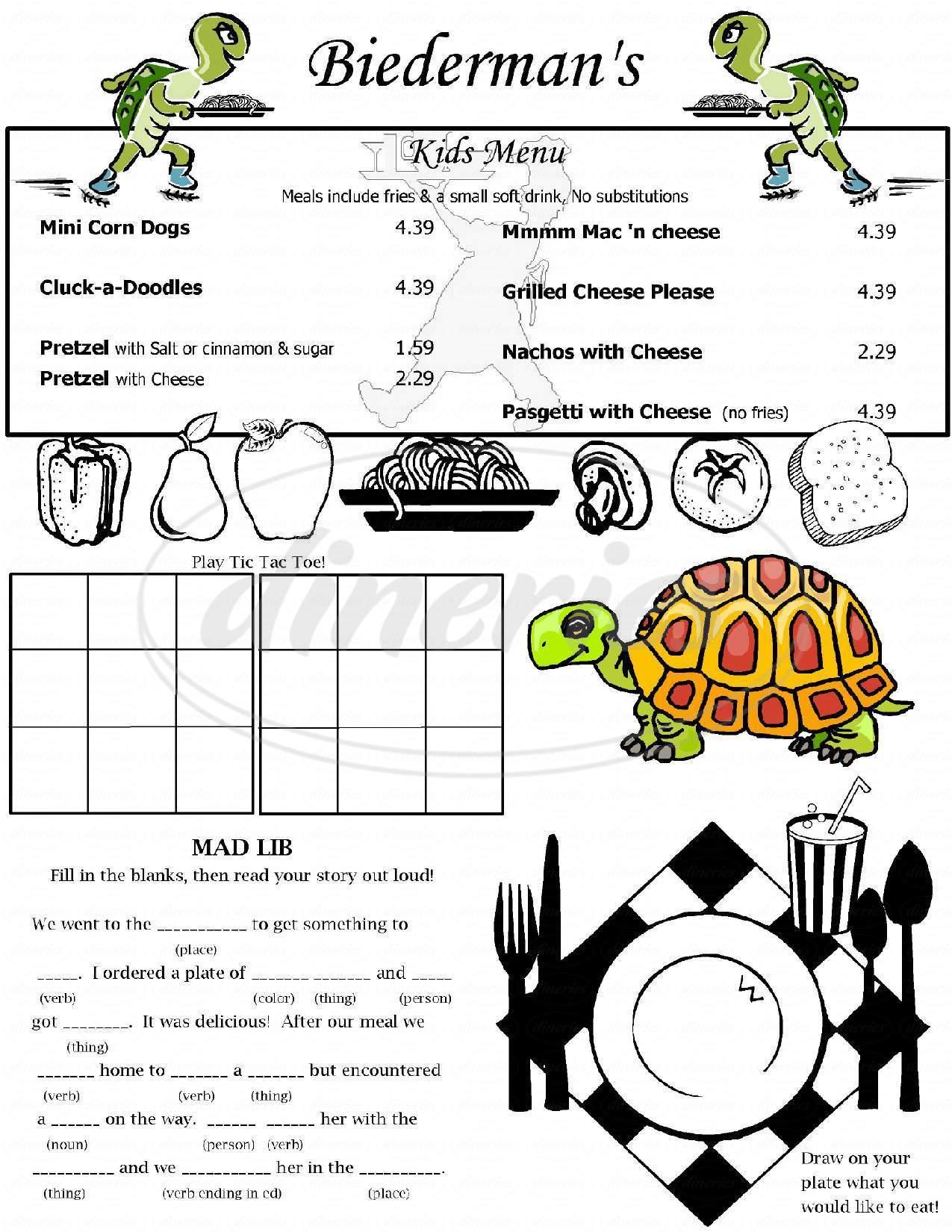 menu for Biederman's Bistro & Catering