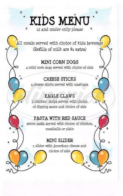 menu for Birdies Pub & Grill