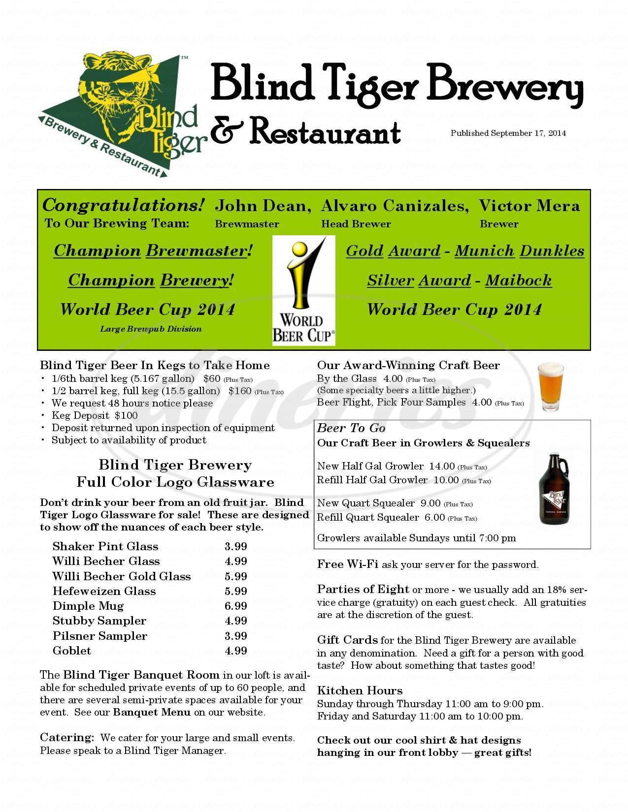 menu for Blind Tiger Brewery & Restaurant