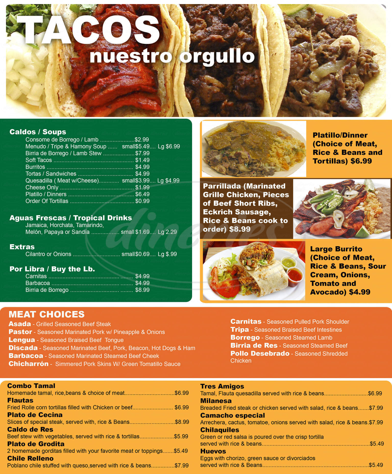 menu for Bonito Michoacan Restaurant & Grocery