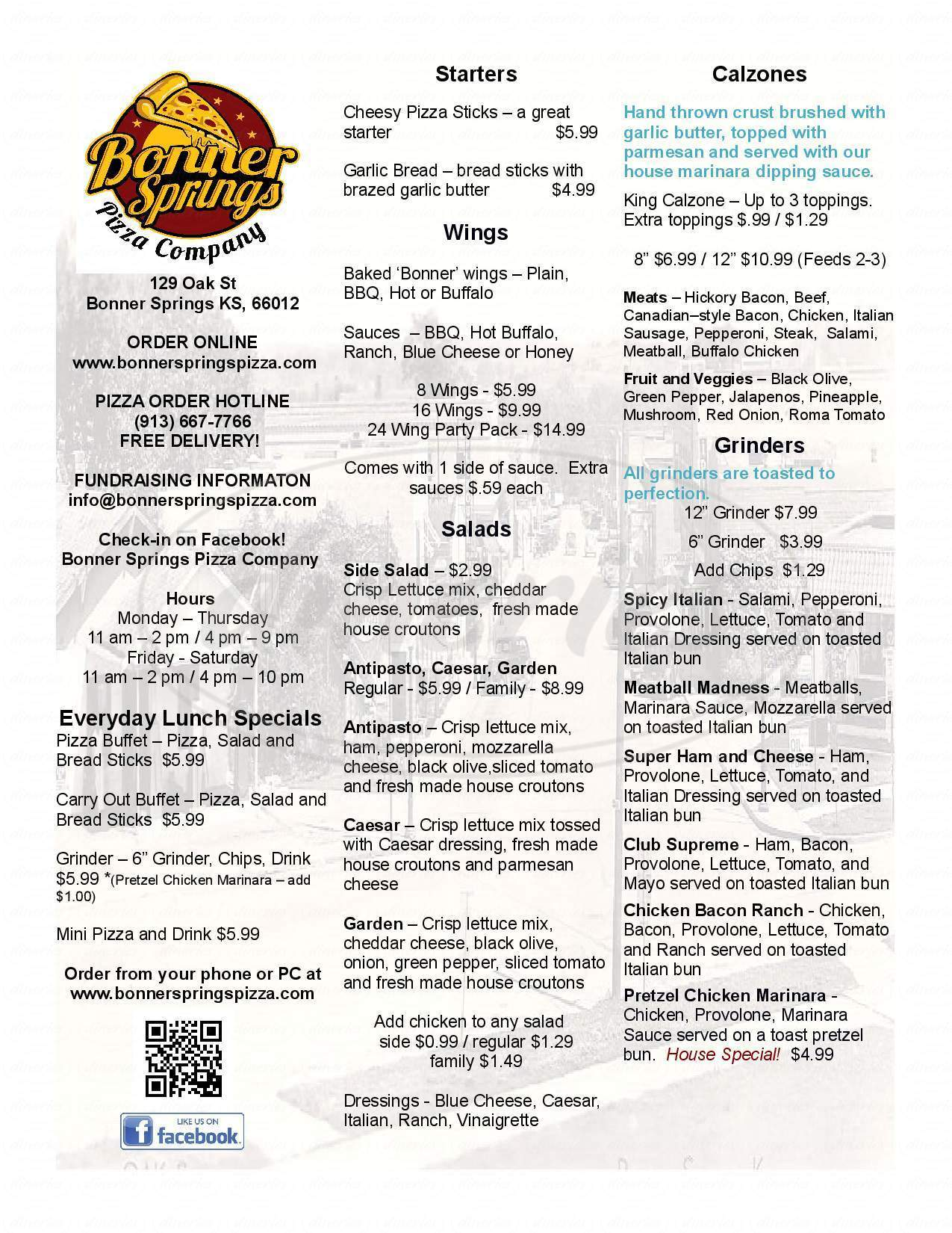 menu for Bonner Springs Pizza Company
