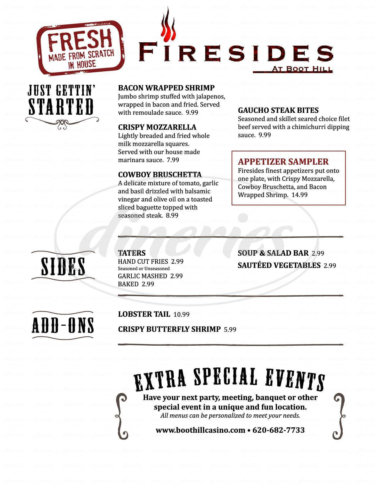 menu for Firesides at Boot Hill