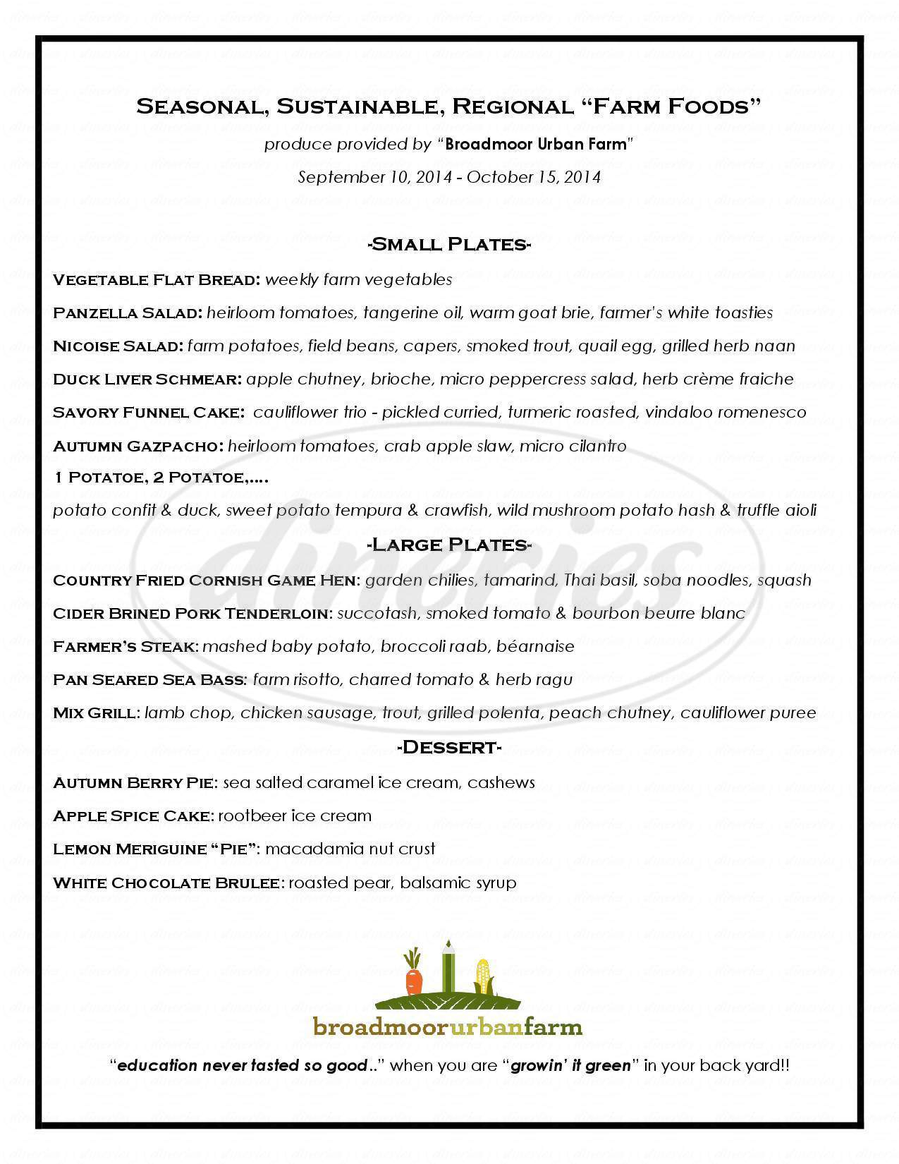 menu for Broadmoor Bistro