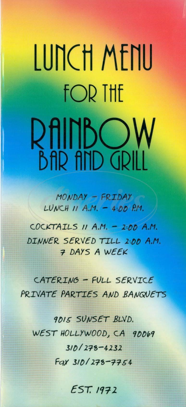 menu for Rainbow Bar & Grill