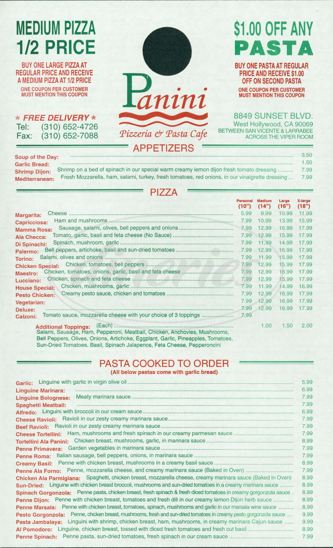 menu for Panini Pizzeria & Pasta Cafe