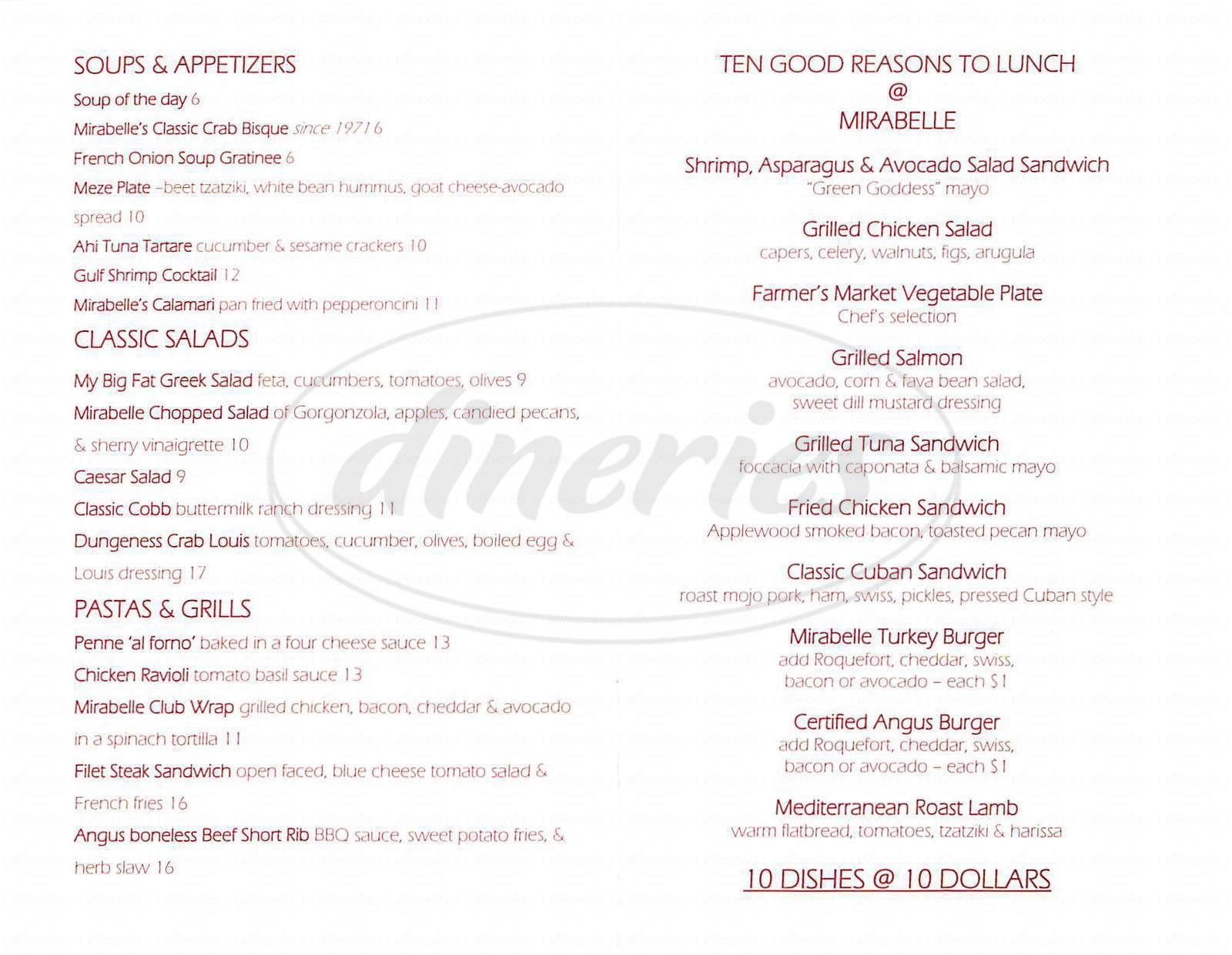 menu for Mirabelle Restaurant