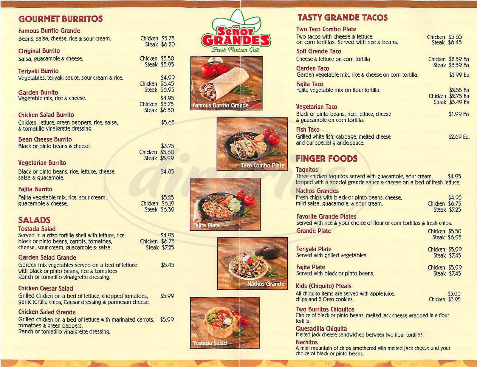 menu for Senor Grandes