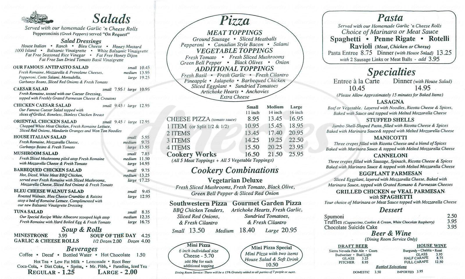 menu for The Pizza Cookery