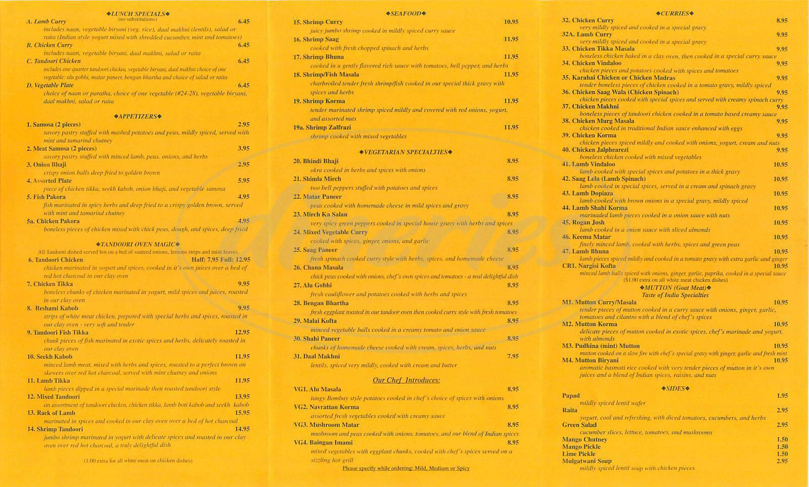 menu for Taste of India