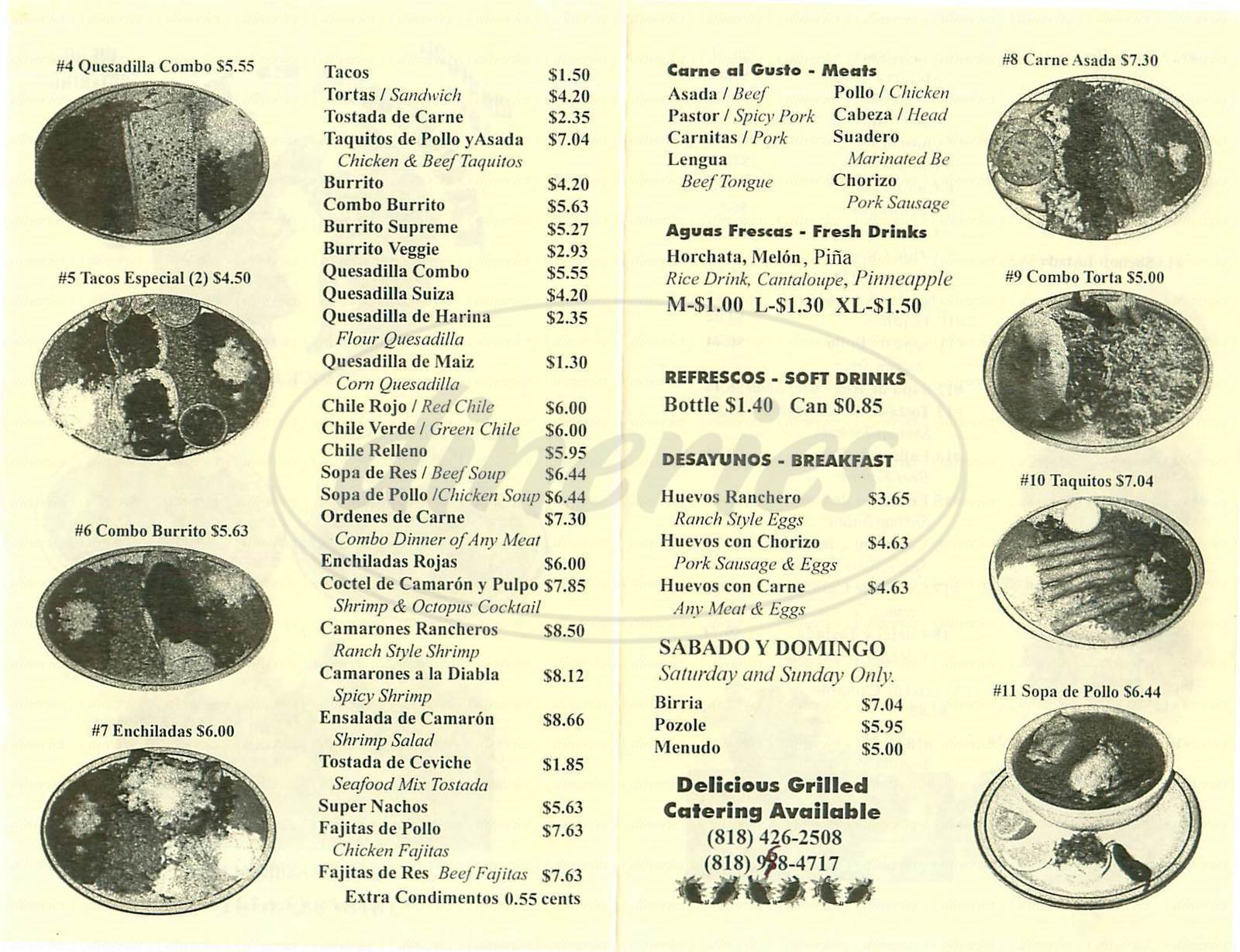 menu for Taqueria el Tapatio