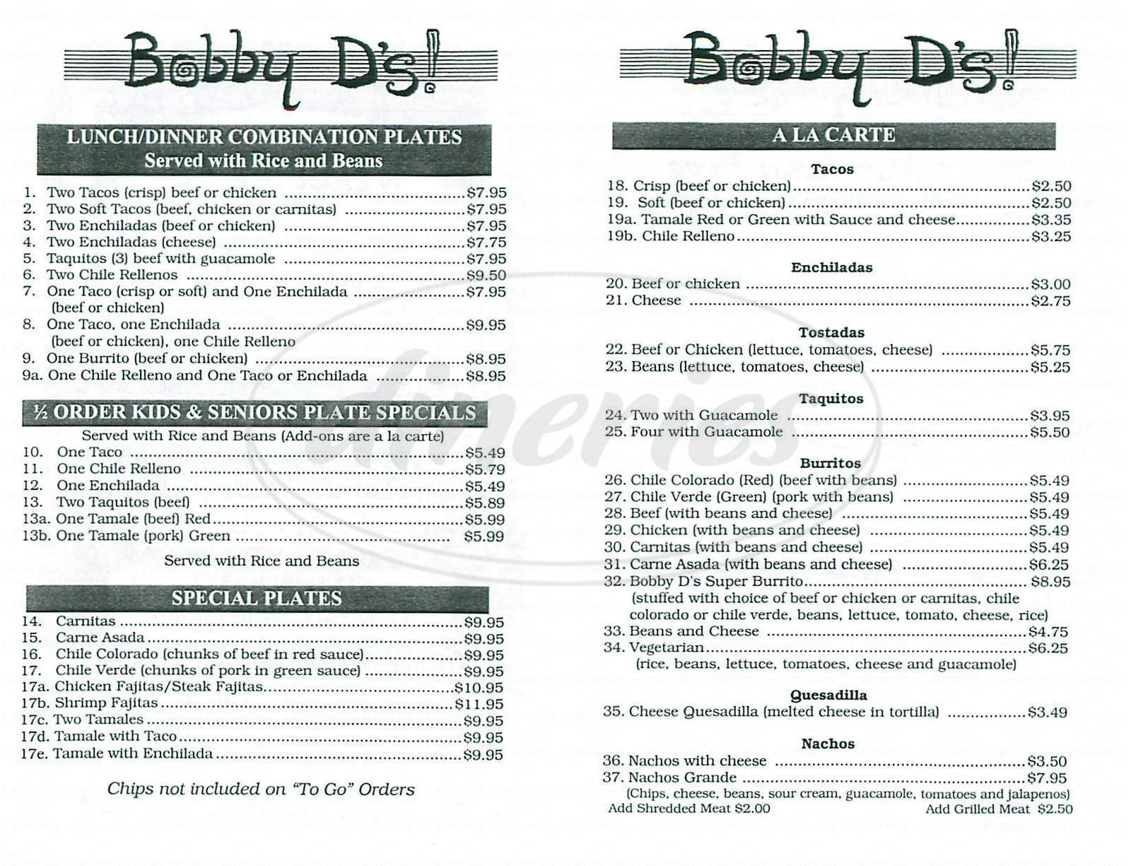 menu for Bobby D's