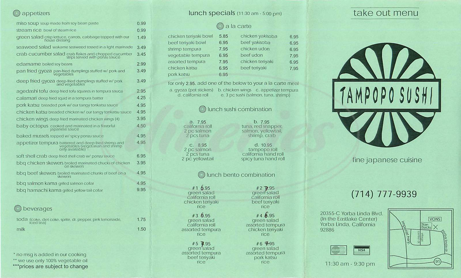 menu for Tampopo Sushi