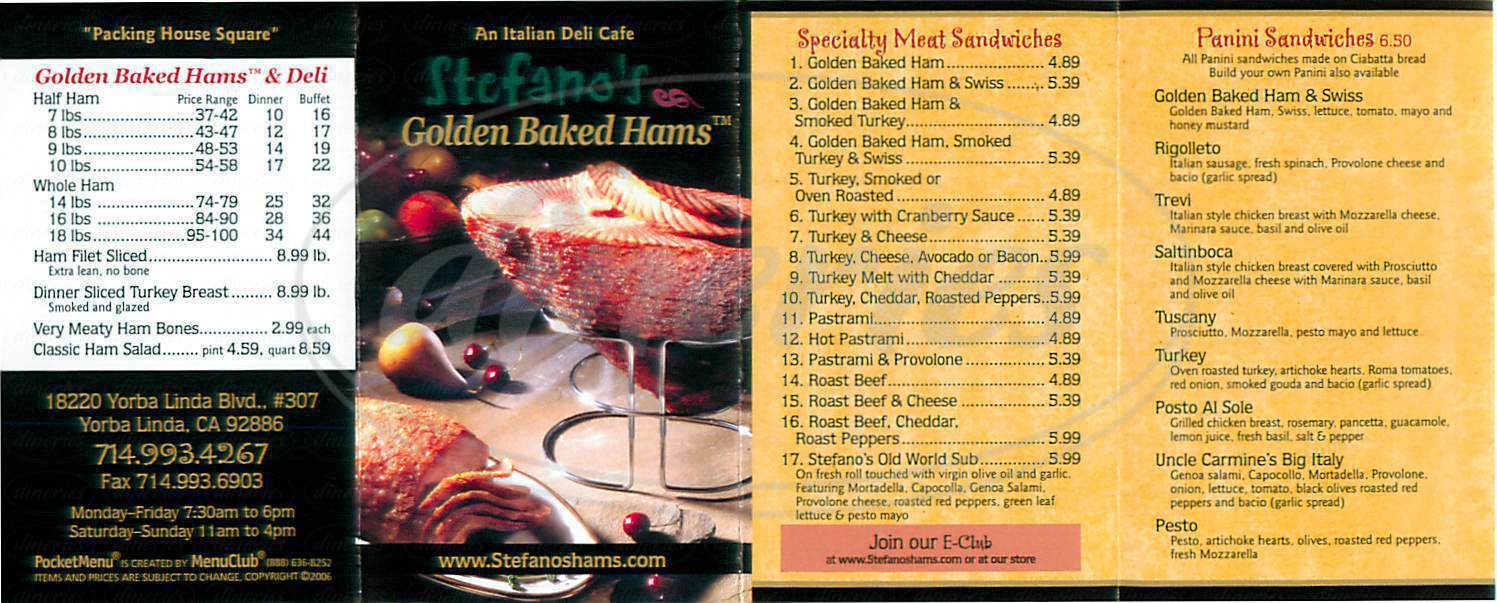 menu for Stefano's Golden Baked Hams
