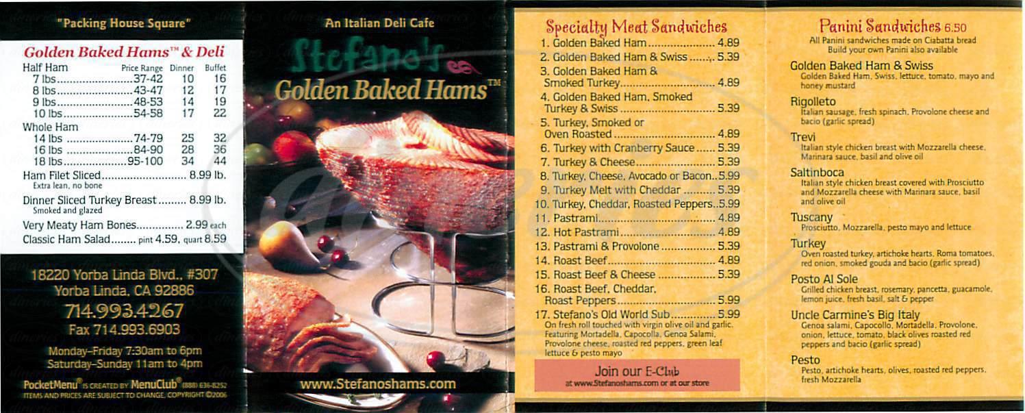 menu for Stefano's Golden Baked Hams