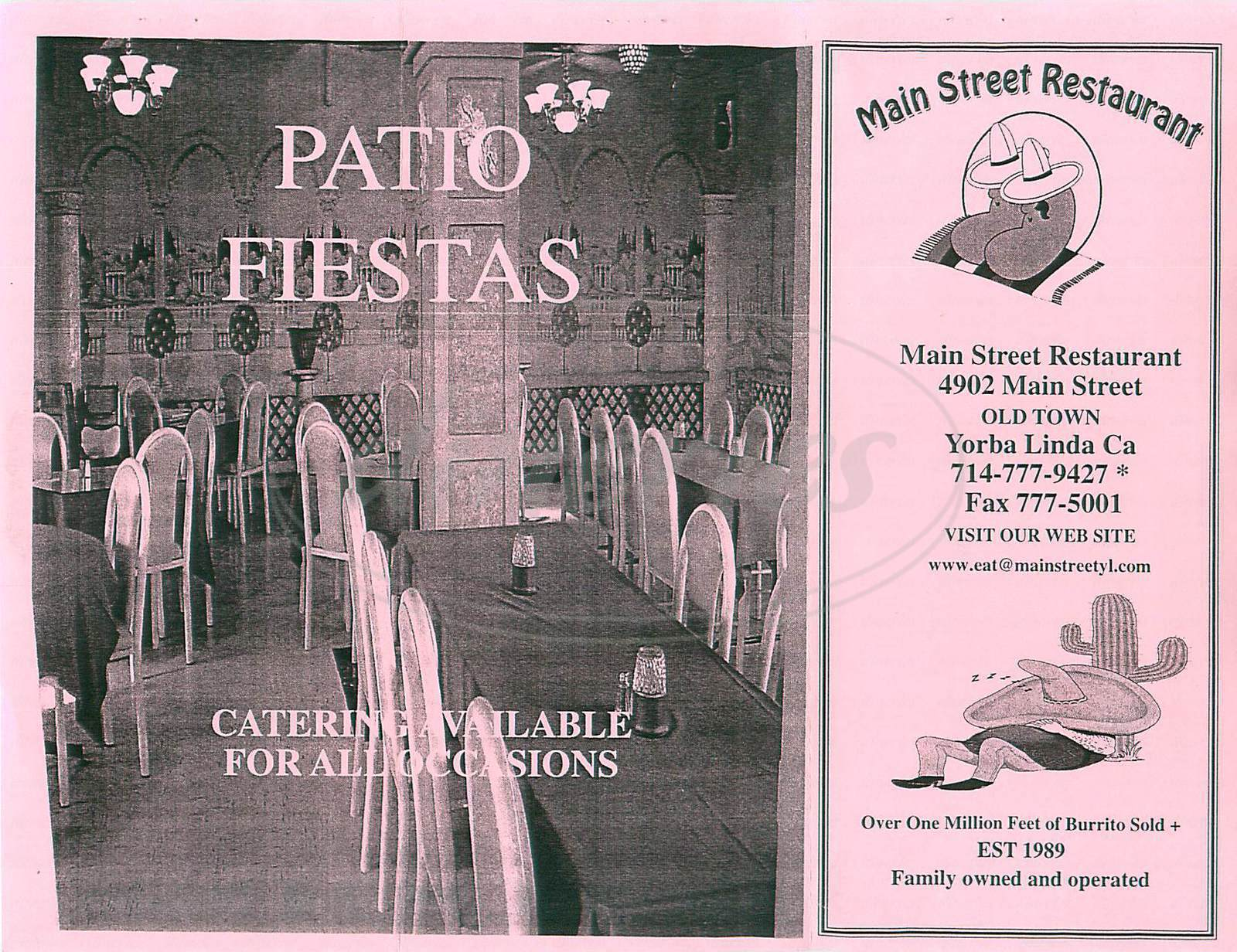 menu for Main Street Restaurant
