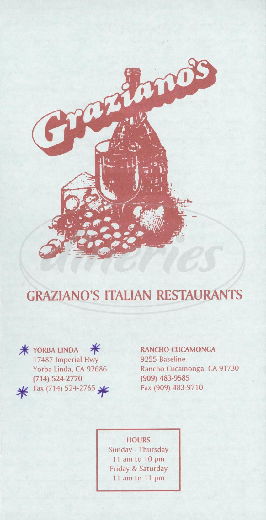 menu for Graziano's