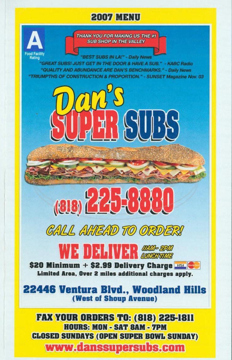 menu for Dan's Super Subs