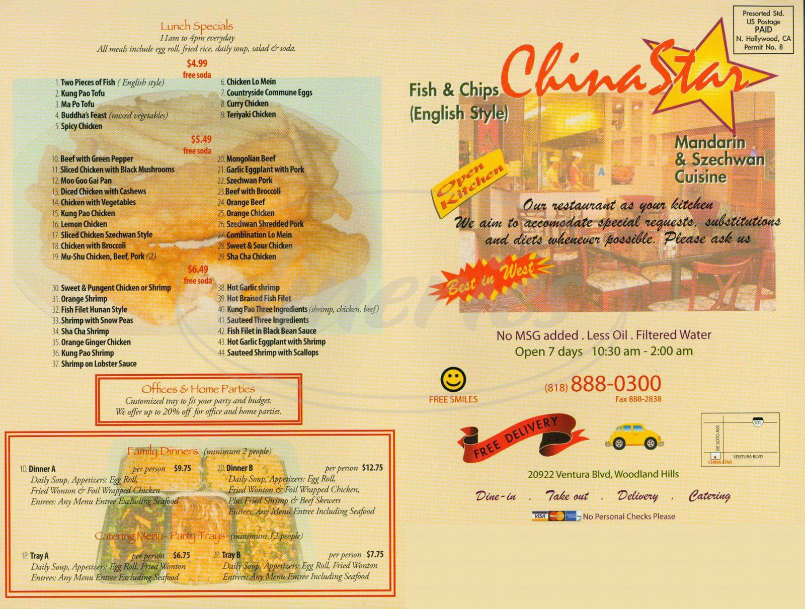 menu for China Star