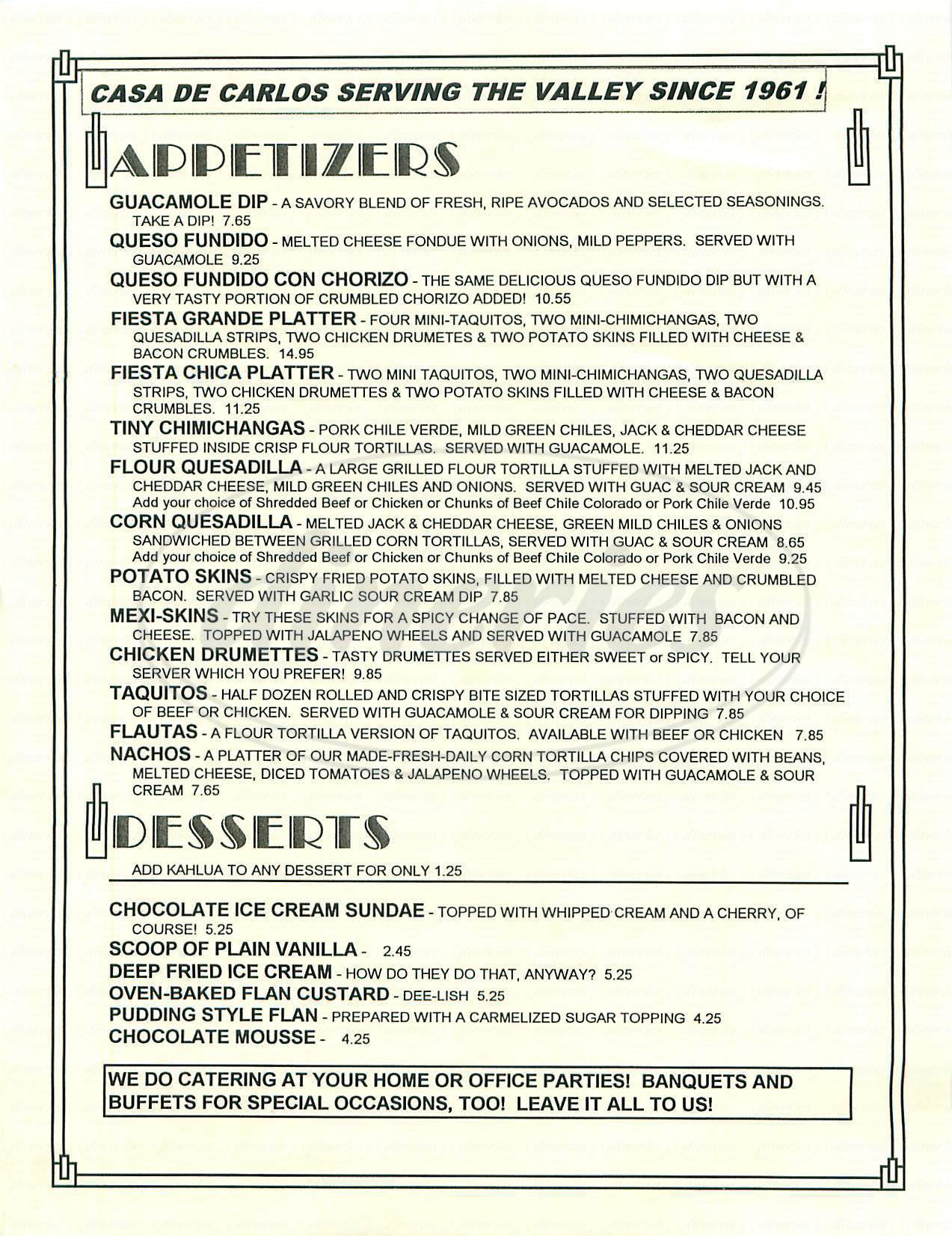 menu for Casa de Carlos Restaurant