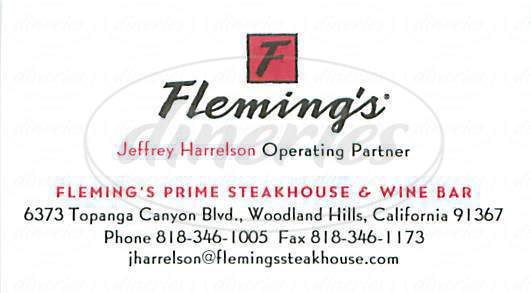 menu for Flemings Prime Steakhouse