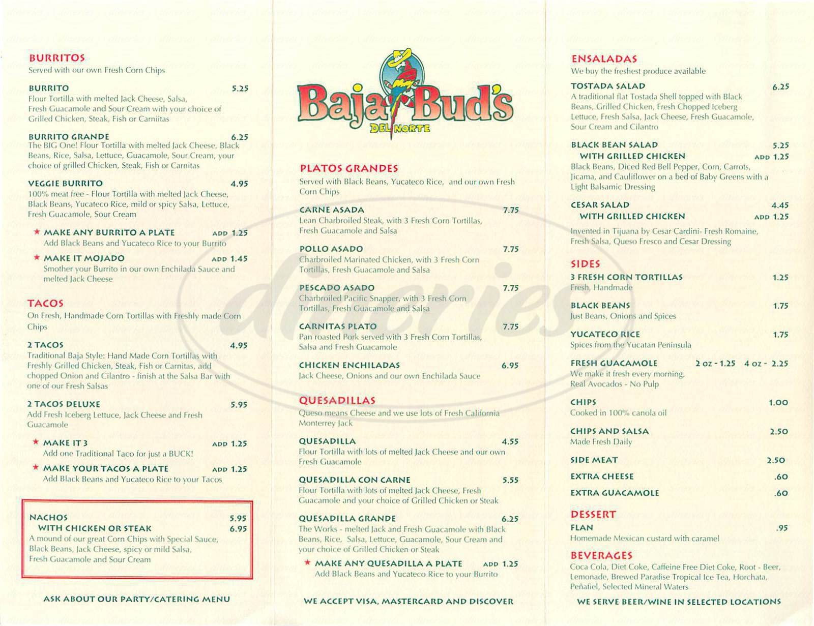 menu for Baja Buds
