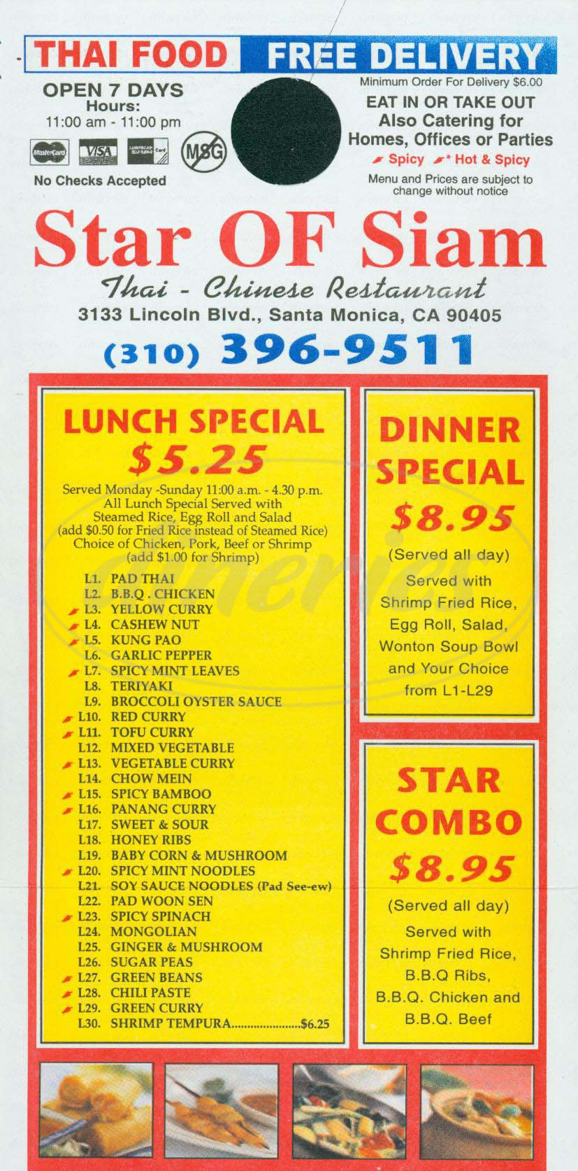 menu for Star of Siam