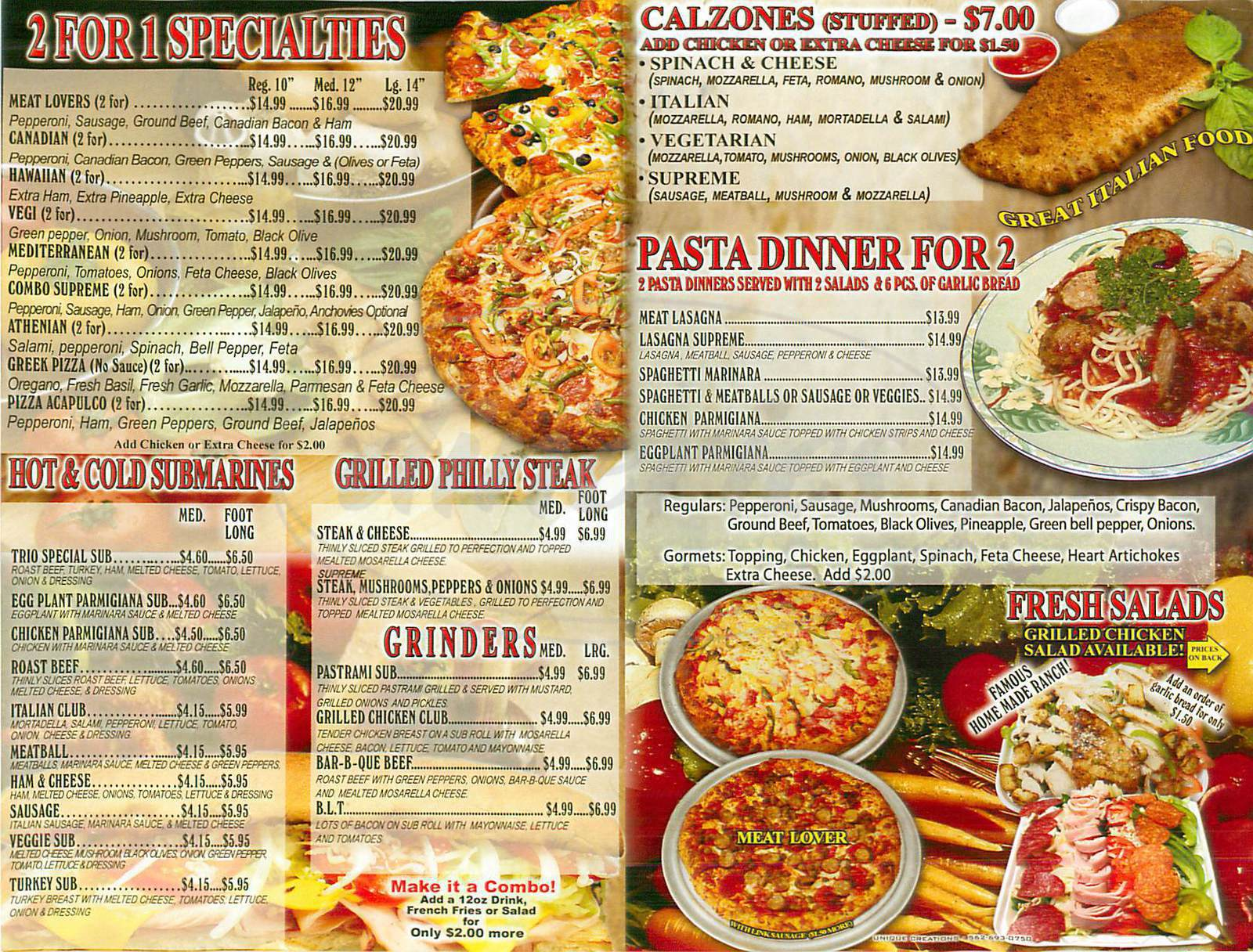 menu for Canadian Pizza & Grill