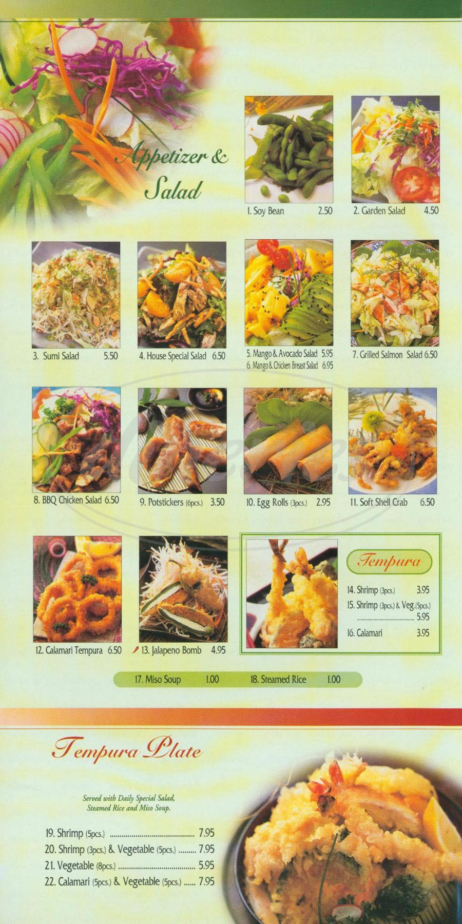 menu for California Bowl Teriyaki Sushi