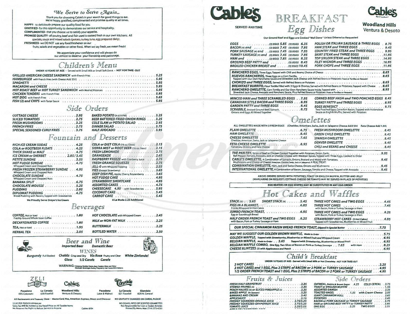 menu for Cables Restaurant