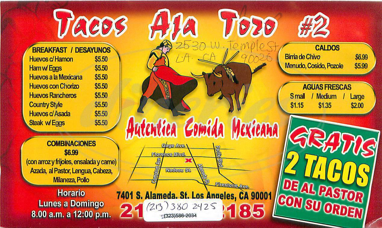 menu for Tacos Aja Toros