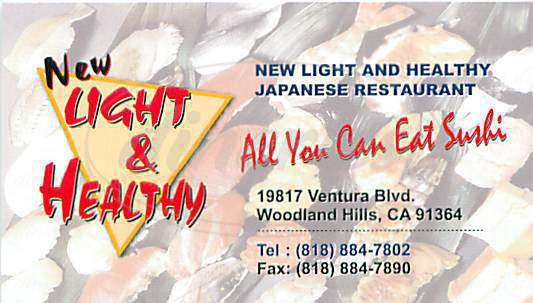 menu for New Light & Healthy Sushi Bar